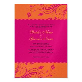 Faire-part de mariage floral orange et rose de carton d'invitation  12,7 cm x 17,78 cm