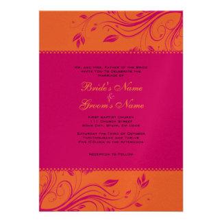 Faire-part de mariage floral orange et rose de rem