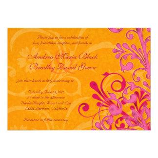 Faire-part de mariage floral orange et rose vibran
