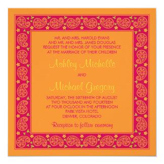 Faire-part de mariage floral orange rose de