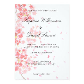 Faire-part de mariage floral rose de fleurs de