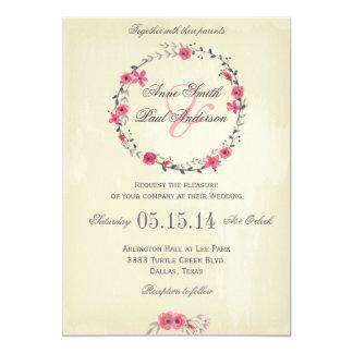 Faire-part de mariage floral rose de guirlande