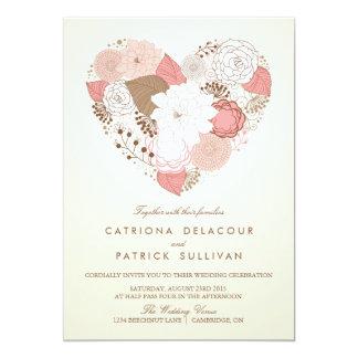 FAIRE-PART DE MARIAGE FLORAL ROSE VINTAGE DE COEUR CARTON D'INVITATION  12,7 CM X 17,78 CM