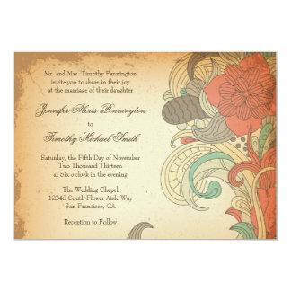 Faire-part de mariage floral rouge-brun vintage de