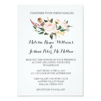 Faire-part de mariage floral rustique