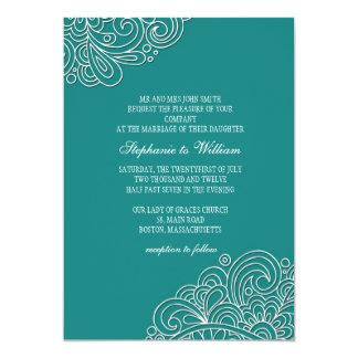 Faire-part de mariage floral turquoise vintage de