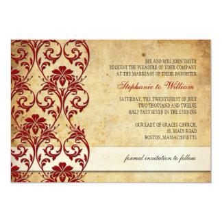 Faire-part de mariage floral vintage de Bourgogne