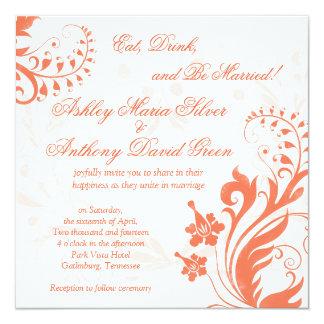 Faire-part de mariage floral vintage orange et