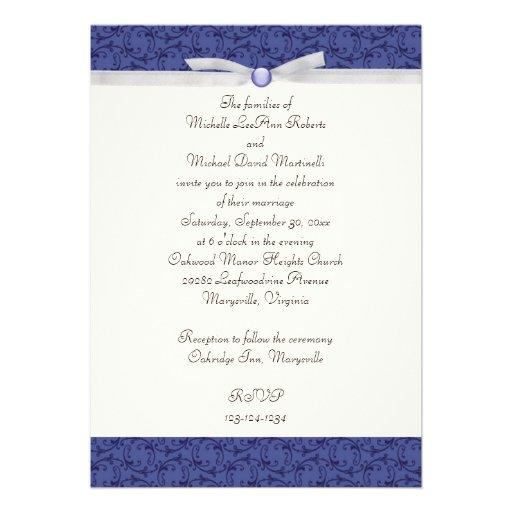 faire part de mariage florentin de bleu royal carton d 39 invitation 12 7 cm x 17 78 cm zazzle. Black Bedroom Furniture Sets. Home Design Ideas