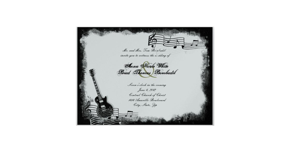 faire part de mariage g nial de musique de guitare zazzle. Black Bedroom Furniture Sets. Home Design Ideas