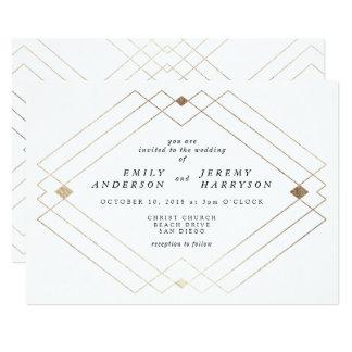Faire-part de mariage géométrique de blanc de Deco