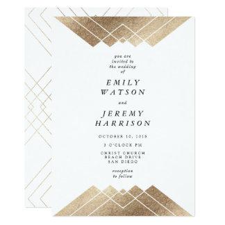 Faire-part de mariage géométrique de Gatsby d'or