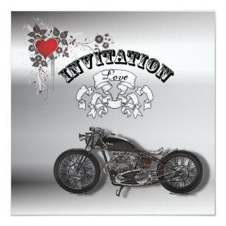 Faire-part de mariage grunge de motard de moto de carton d'invitation  13,33 cm