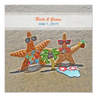 Faire-part de mariage hawaïen de couples d'étoiles carton d'invitation  13,33 cm