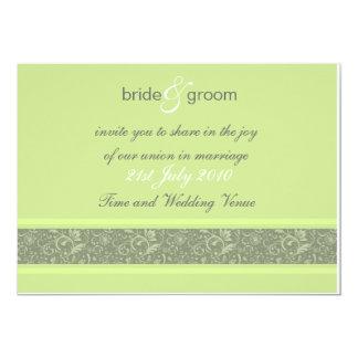 Faire-part de mariage - imaginaire floral - vert carton d'invitation  12,7 cm x 17,78 cm