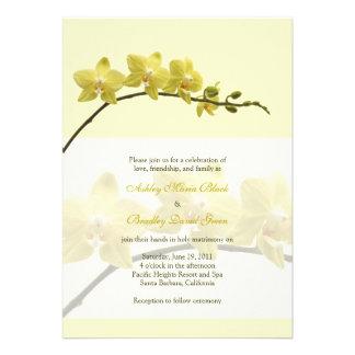 Faire-part de mariage jaune d orchidée