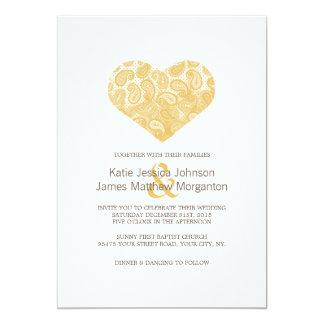 Faire-part de mariage jaune de coeur de Paisley
