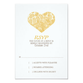Faire-part de mariage jaune RSVP de coeur de