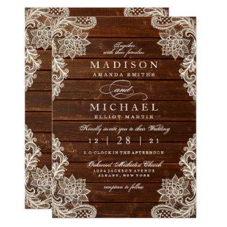 Faire-part de mariage moderne en bois de dentelle