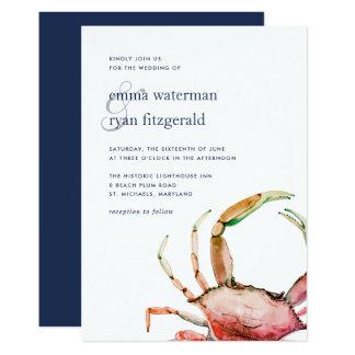 Faire-part de mariage nautique rouge du crabe |