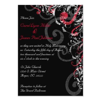 Faire-part de mariage noir, blanc et rouge