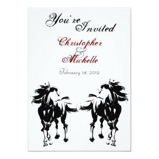 Faire-part de mariage noir, blanc et rouge de