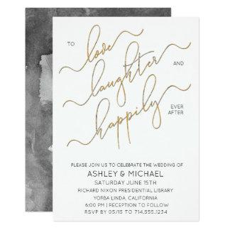 Faire-part de mariage noir de calligraphie d'or