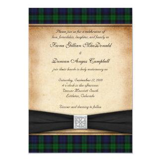 Faire-part de mariage noir écossais de tartan de