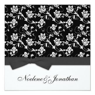 Faire-part de mariage noir et blanc de fleur d'arc carton d'invitation  13,33 cm