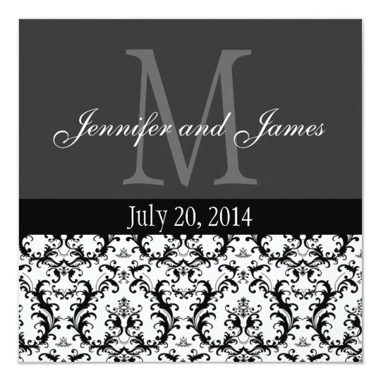 faire part de mariage noir et blanc de monogramme. Black Bedroom Furniture Sets. Home Design Ideas