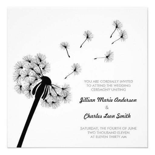 faire part de mariage noir et blanc de pissenlit carton d 39 invitation 13 33 cm zazzle. Black Bedroom Furniture Sets. Home Design Ideas