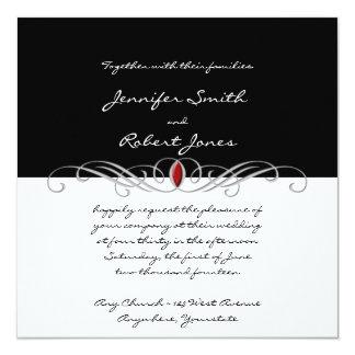Faire-part de mariage noir et blanc et rouge