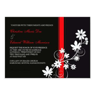 Faire-part de mariage noir et rouge de fleur carton d'invitation  12,7 cm x 17,78 cm