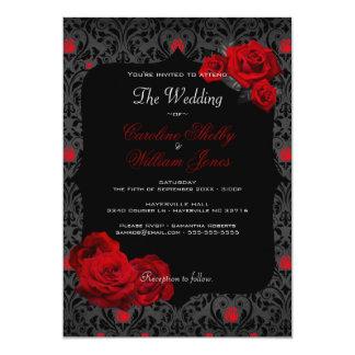 Faire-part de mariage noir et rouge de rose