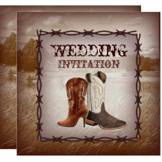 Faire-part de mariage occidental de pays de bottes