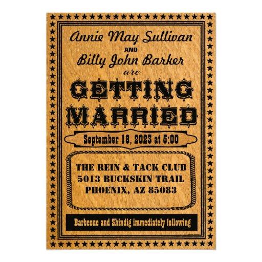 Faire-part de mariage occidental de typographie vi
