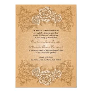 Faire-part de mariage orange antique de roses
