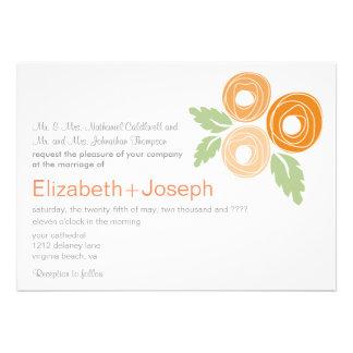 Faire-part de mariage orange de boutons de rose