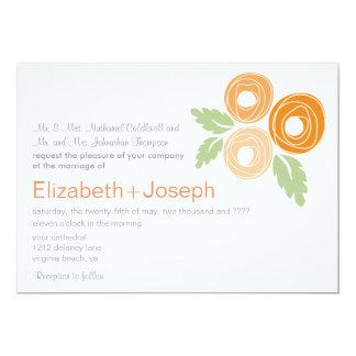 Faire-part de mariage orange de boutons de rose carton d'invitation  12,7 cm x 17,78 cm