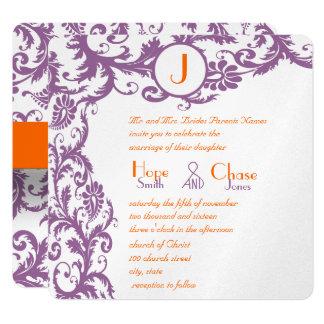 Faire-part de mariage orange de monogramme de