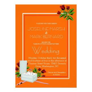 Faire-part de mariage orange de roses d alliances