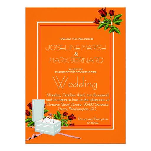 Faire-part de mariage orange de roses d'alliances