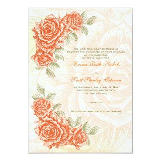 Faire-part de mariage orange de roses de mandarine carton d'invitation  12,7 cm x 17,78 cm
