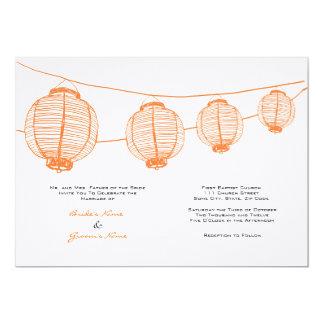 Faire-part de mariage orange et blanc de lanternes