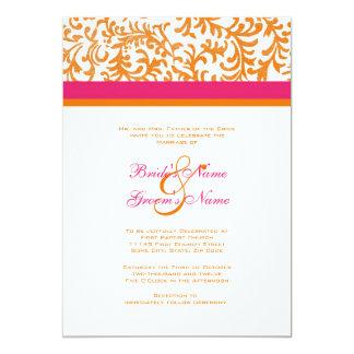 Faire-part de mariage orange et rose