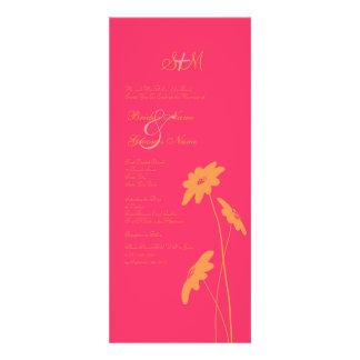 Faire-part de mariage orange et rose de fleurs sau