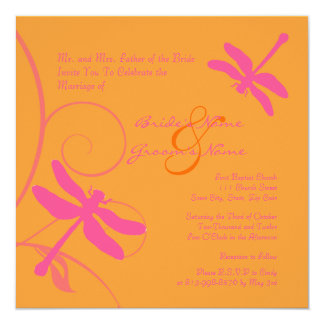 Faire-part de mariage orange et rose de libellule