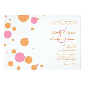 Faire-part de mariage orange et rose de point de carton d'invitation  12,7 cm x 17,78 cm