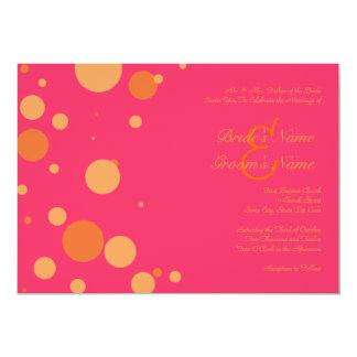 Faire-part de mariage orange et rose de point de