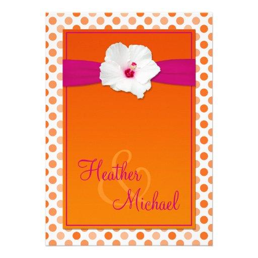 Faire-part de mariage orange et rose de point de p